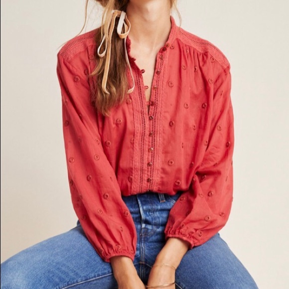 Anthropologie Tops - Anthropologie Mauve Auguste Embroidered Blouse